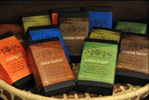 Sugar & Spice Trading Company specialty soap product line. Packaging design reflects both the brand and the individual soaps.