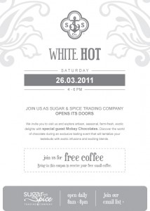 Email Invitation to our WHITE HOT launch party.