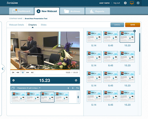 Admins may also upload new videos and insert new slides to match up to different intervals.